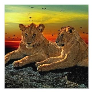 Lion Style 13 Cm X 13 Cm Square Invitation Card