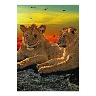 Lion Style 13 Cm X 18 Cm Invitation Card