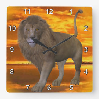 Lion Sunset Wallclock