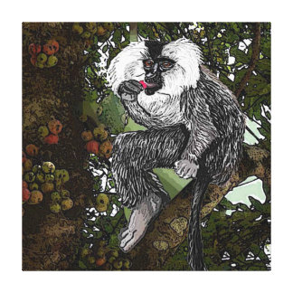 Lion  Tailed  Macaque Eating A Fig,  Watercolor Gallery Wrapped Canvas