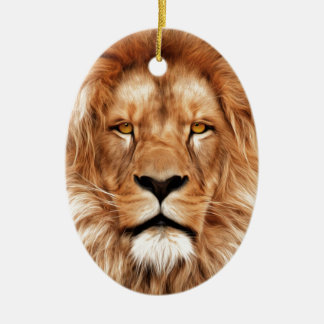 Lion The King Photo Painting Ceramic Oval Decoration