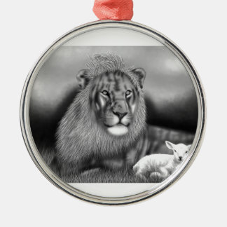 Lion & the Lamb Silver-Colored Round Decoration