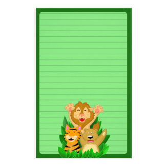 Lion Tiger and Bear Stationery (Ruled)