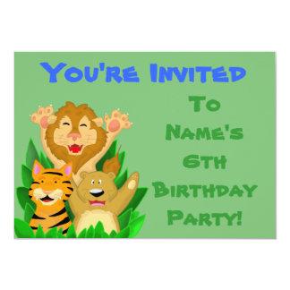 Lion Tiger Bear Kids Birthday Party Invitation