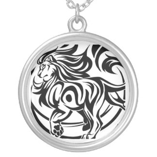 Lion tribal tattoo silver plated necklace