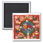 Lion tulips Folk-Art Tole Painting Style Magnets