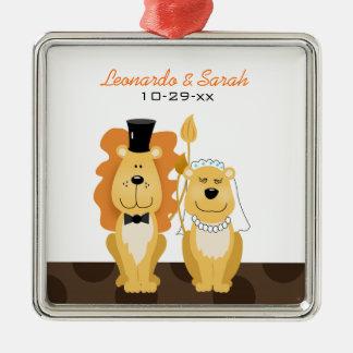 Lion Wedding Couple Custom Ornament