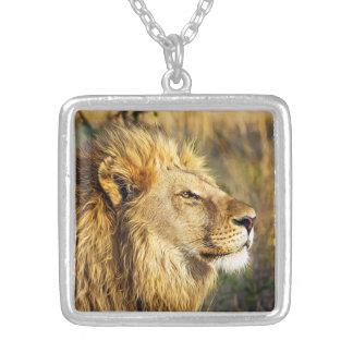 Lion Wild Animal Wildlife Safari Silver Plated Necklace