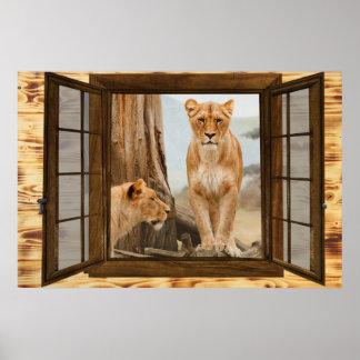 lion window poster