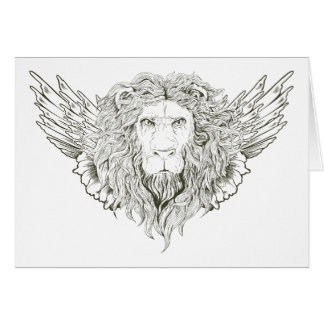Lion ~ Winged Lions Customize Gift Template Greeting Card