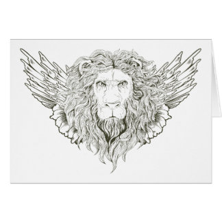 Lion ~ Winged Lions Customize Gift Template Note Card