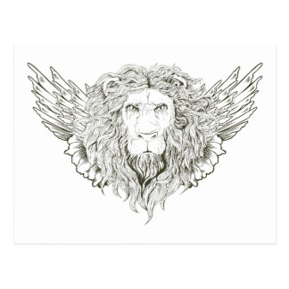 Lion ~ Winged Lions Customize Gift Template Postcard