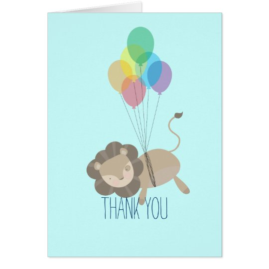 Lion with Balloons Thank You Card