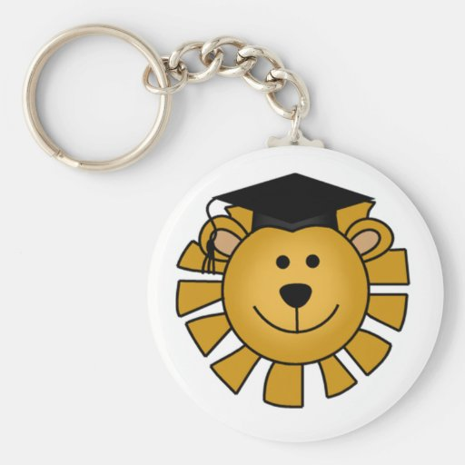 Lion with Graduation Cap Tshirts and Gifts Keychain