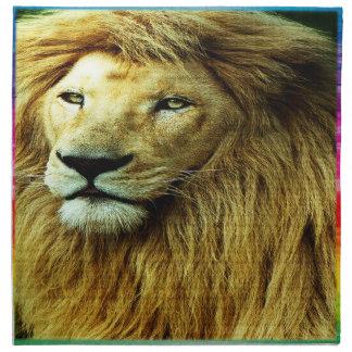 Lion With Rainbow Border Napkin