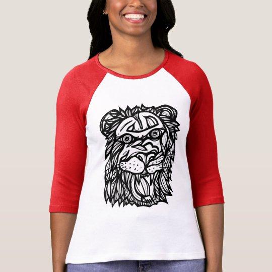 """Lion Yell"" Women's 3/4 Sleeve Raglan T-Shirt"