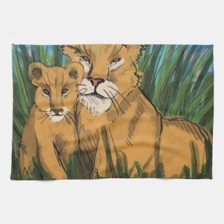 Lioness and Cub Print Tea Towel