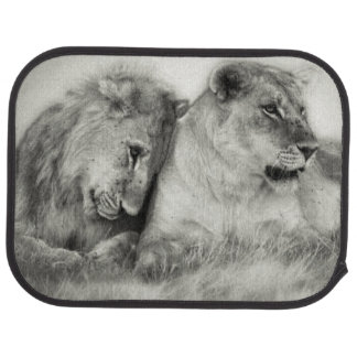 Lioness and son sitting and nuzzlingin Botswana Car Mat