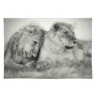 Lioness and son sitting and nuzzlingin Botswana Placemat