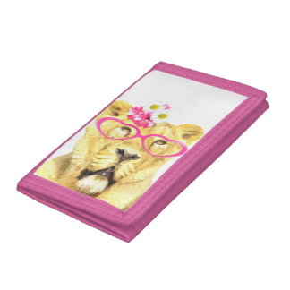 Lioness funny and cute animal watercolor kids baby trifold wallet