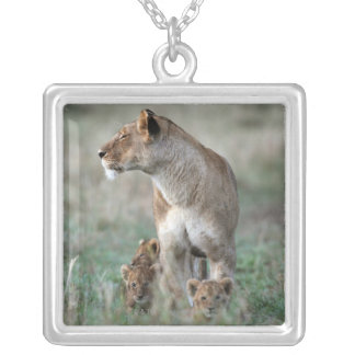 Lioness (Panthera leo) and cubs, Masai Mara Silver Plated Necklace