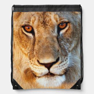Lioness (Panthera Leo) Portrait. Tarangire Drawstring Bag