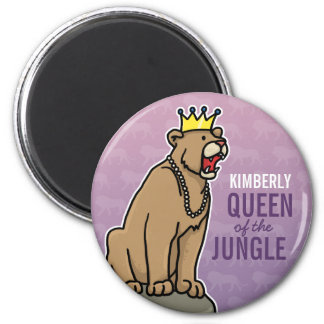 Lioness Queen of the Jungle, Add Child's Name 6 Cm Round Magnet