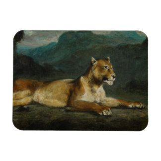 Lioness reclining, c.1855 (oil on panel) rectangular photo magnet