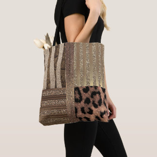 Lioness Safari Chic Jungle Glam Modern Sparkle Tote Bag