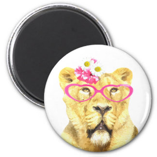 Lioness wild zoo cute animal watercolor baby kids 6 cm round magnet