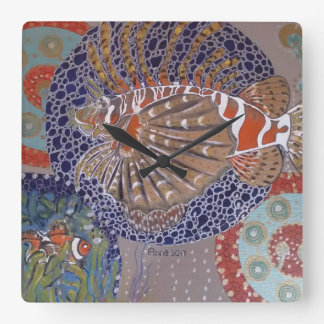 Lionfish Square Wall Clock