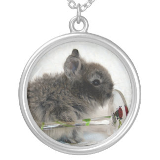 Lionhead Bunny and Wine Glass Round Pendant Necklace