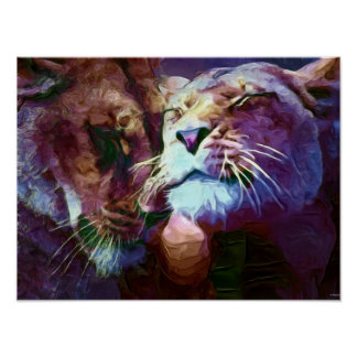 Lions 4 painting poster
