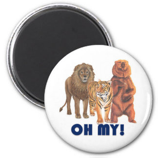 Lions and Tigers and Bears Oh My! 6 Cm Round Magnet