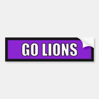 Lions - Black Purple White Bumper Stickers