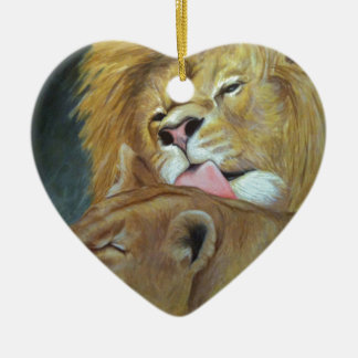 Lions Ceramic Heart Decoration