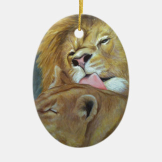 Lions Ceramic Oval Decoration