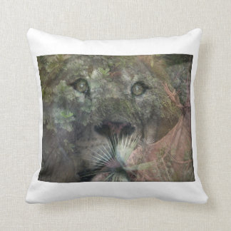 Lions Daydreaming and Looking Up Cushion