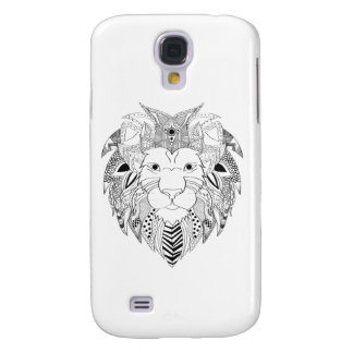 Lions face in black and white line art tattoo galaxy s4 case