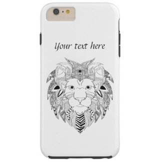 Lions face in black and white line art tattoo tough iPhone 6 plus case