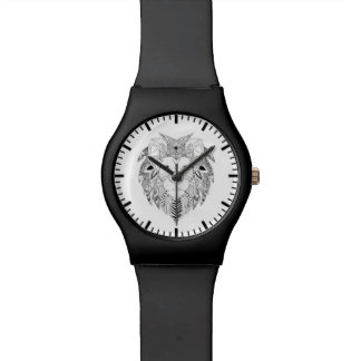 Lions face in black and white line art tattoo watch