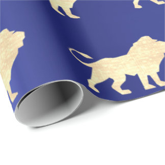 Lions Foxier Gold Glam VIP Metallic Sapphire Blue Wrapping Paper