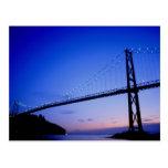 Lions Gate Bridge, at dusk, Vancouver, British Col Post Card