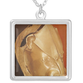 Lion's head rhyton silver plated necklace