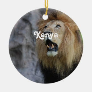 Lions in Kenya Round Ceramic Decoration