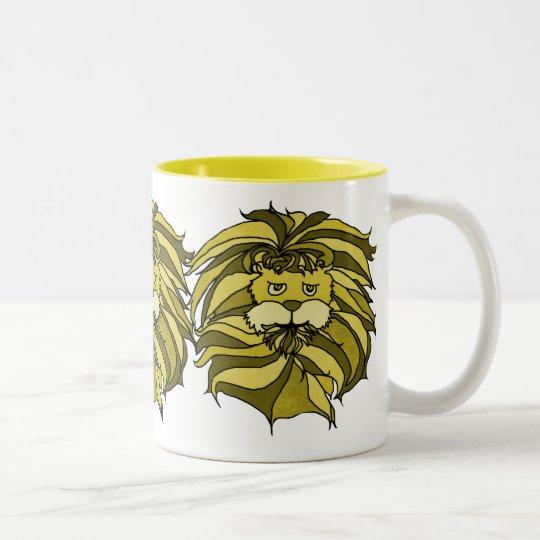 Lions in Yellow Two-Tone Coffee Mug