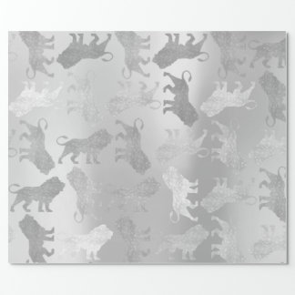 Lions Monochrome Silver Gray Metallic Sparkly VIP Wrapping Paper