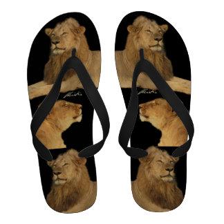 Lions on black Flip Flops men s