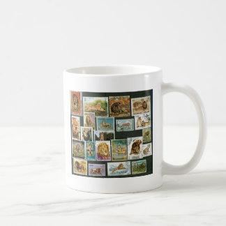 Lions on stamps basic white mug