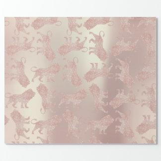 Lions Pink Rose Rose Gold Metallic Pastel Blush Wrapping Paper